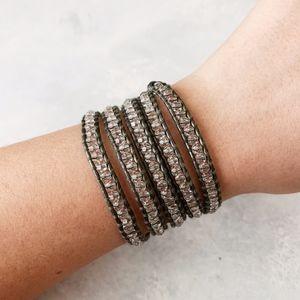 Chan Luu Crystal on Olive Leather Wrap Bracelet